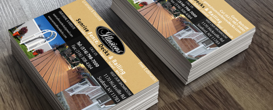 Long island video photo graphic designs sunrise fence business card sunrise fence business card reheart Image collections